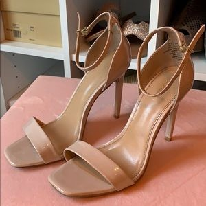 Express Patent Nude Square Toe Heels